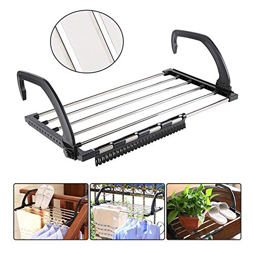 SYPARTS TOOL 16 Inch Folding Clothes Drying Rack Stainless Steel Retractable Racks Clips Drying Socks Hanging on Balcony WindowsillFenceGuardrail 40x32x185cm