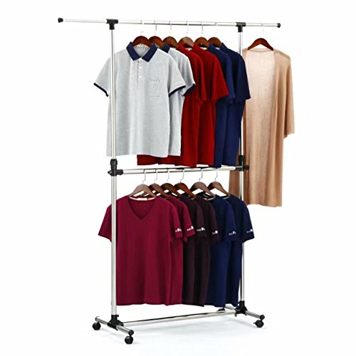 SUNPACE Garment Rack Rolling Metal Free Standing Clothes Rack Stand Portable Hanging for ClothesJacketShirtLong Dress