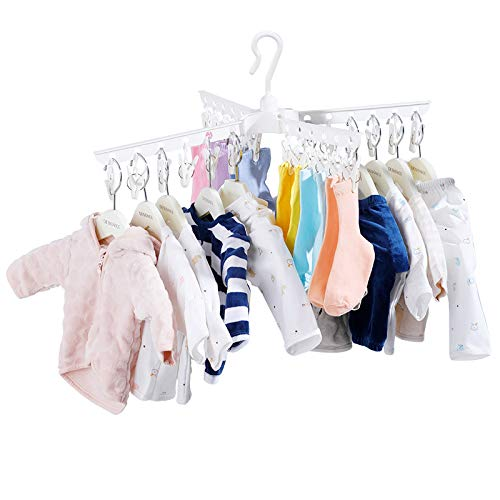 BAOYOUNI Plastic Clothespins Folding Clothes Drying Rack Laundry Drip Hanger 24 Clips Peg for Hanging Socks Baby Clothes Cloth Diapers Bras Towel Underwear Hat Scarf Gloves Ivory