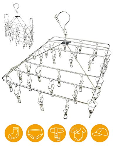 Clothes Drying Rack with Windproof HookStainless Steel Drying Racks for LaundryFolding Clothes Drying Rack for Hanging ClothesUnderwearBraBaby ClothesDiapersTowelHatScarfGloves30 Clips