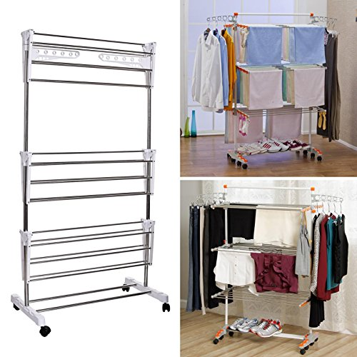 Hindom US Stock 3 Layers Portable Folding Laundry Drying RackStainless Steel Clothes Drying Rack with WheelsHome Multifunctional Storage Rack
