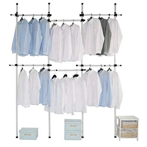 Flesser Adjustable Clothes Rack Heavy Duty Garment Rack for Clothes 2-Tier Easy to Assemble