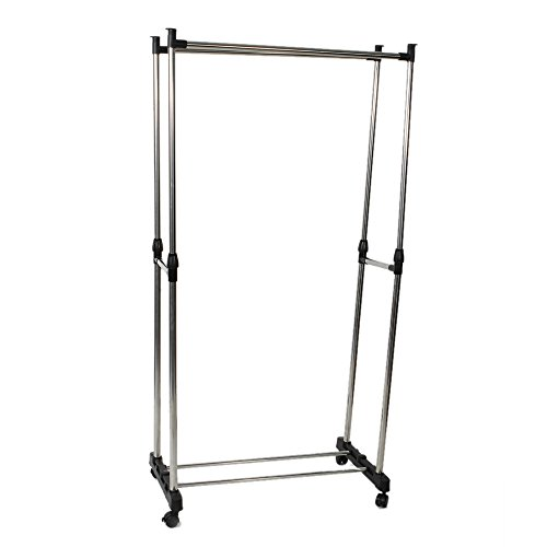 Multislife Portable Clothes Rack  Freestanding Heavy-Duty Garment Rack with Double Garment Rack for Your Bedroom Office and Home