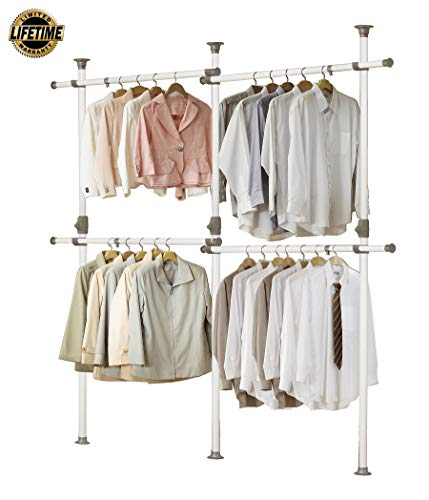PRINCE HANGER One Touch Double 2 Tier Adjustable Hanger Holds 80kg176LB per Horizontal bar Clothing Rack Closet Organizer38mm Vertical Pole Heavy Duty Garment Rack PHUS-0033 Made in Korea