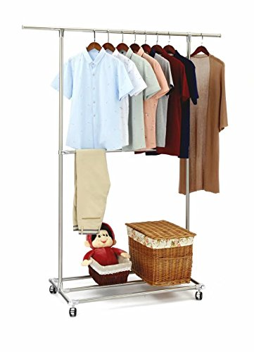 SUNPACE Heavy Duty Garment Rack Rolling SUN003 Commercial Grade Pipe Clothing Garment Rack Store