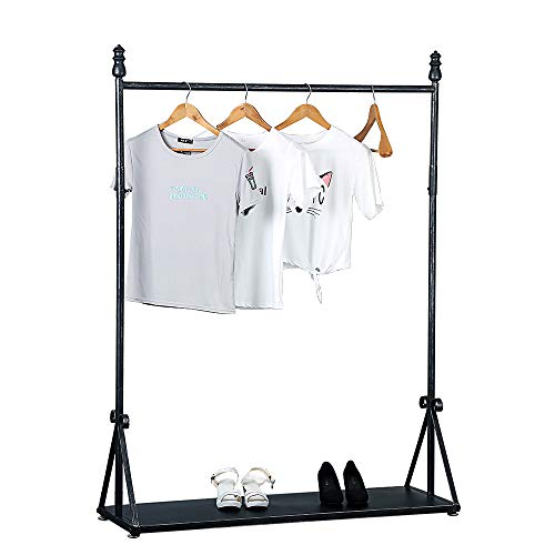 TMGY Retro Metal Clothing Racks 618inIndustrial Iron Heavy Duty Garment RackCommercial Clothes Racks for Hanging ClothesPortable Retail Display Rack Standing Clothes RackBlack Brush Silver