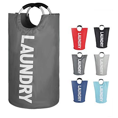 EPICORD 82L Large Laundry Basket 6 Colors Collapsible Fabric Laundry Hamper Foldable Clothes Bag Folding Washing Bin Dark Grey