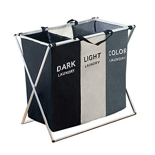 Sizet Laundry Hamper 3 Section Large Oxford Fabric Laundry Basket Dirty Clothes Storage Bag Foldable Luandry Sorter with Frame 27x 15x 24
