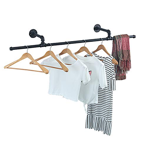 MBQQ Industrial Modern Black Pipe Wall Mounted Clothing Rack Laundry Room Clothing RodsDecor Hanging RackCommercial Clothes Display RacksGarment RackBar2 Base 51