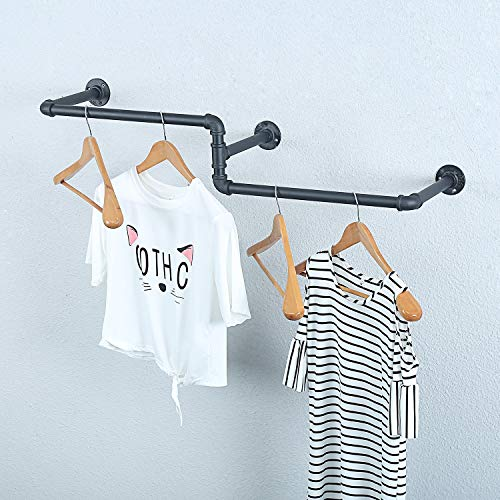 MBQQ Industrial Pipe Clothing Rack Wall Mounted Vintage Laundry Room RodWall Clothes Rods Decor Hanging RackCommercial Clothes Display RacksGarment RackBar3 Base 39