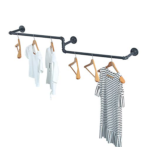 MBQQ Industrial Pipe Clothing Rack Wall Mounted Vintage Laundry Room RodWall Clothes Rods Decor Hanging RackCommercial Clothes Display RacksGarment RackBar3 Base 59