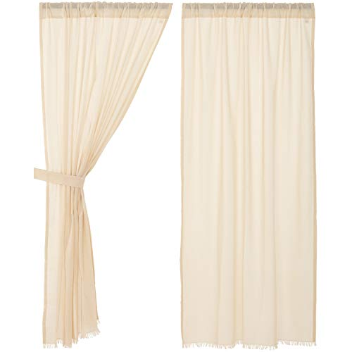 VHC Brands Farmhouse Curtains Tobacco Cloth Rod Pocket Cotton Tie Backs Sheer Solid Color Panel Pair Natural Creme White