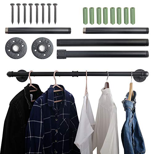 WEBI Clothing Rack Wall Mount315 Industrial Pipe Clothes Rack for Hanging ClothesHeavy Duty Iron Garment Rack BarRetail Display Clothes Rod for ClosetLaundry RoomBlack