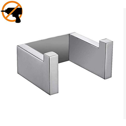 Celbon SUS 304 Stainless Steel Self Adhesive Towel Hook Bathroom Sliver Chrome Towel Hanger Coat Hanger Coat Hook Rail Easy Installation Without Drilling