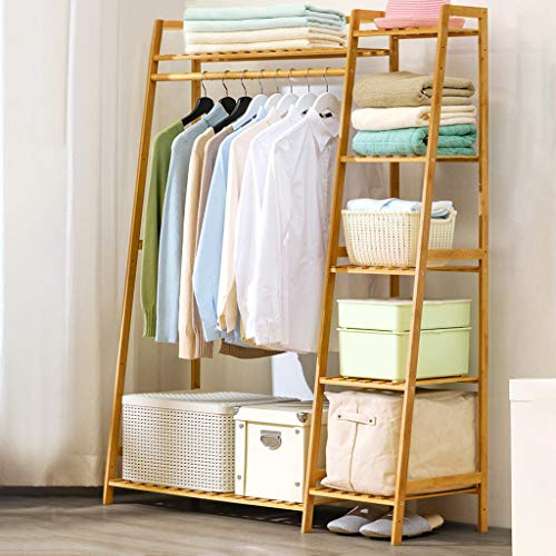 Hstore Free - Standing Closet Coat Storage Organizer Heavy Duty Closet Storage with 7 Shelves and Hanging Bar Home Wood Simple Modern Floor Clothes Storage US Stock