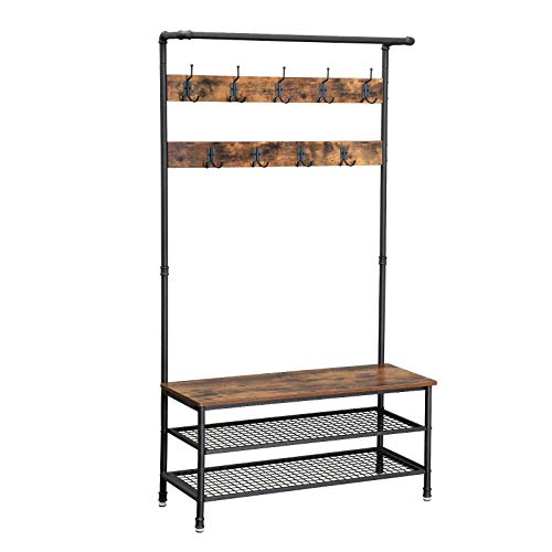 VASAGLE Industrial Coat Rack Storage Bench Pipe Style Hall Tree with 9 Hooks Multifunctional Sturdy Iron Frame Large Size