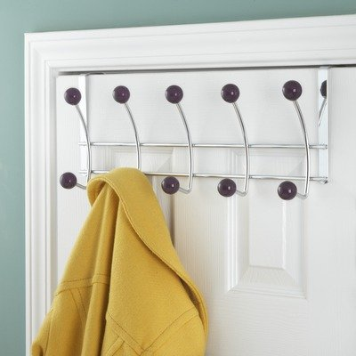 5 Hook Over the Door Coat Rack Color Plum Size 18 x 55 x 75