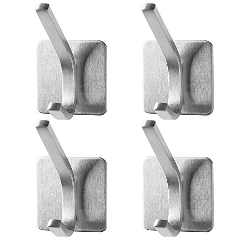 Towel HookAdhesive Hooks - SUS 304 Stainless Steel 3M Self Adhesive Wall Mount Coat Robe Hooks TowelClothes Hanger for Bathroom Kitchen Brushed 4-Pack