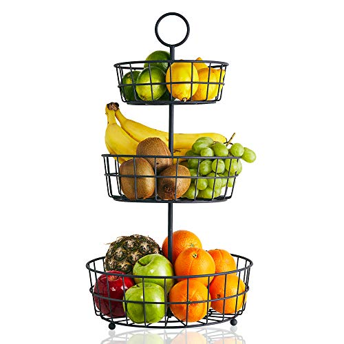 3 Tier Fruit Basket - French Country Wire Basket by Regal Trunk Co  Three Tier Fruit Basket Stand for Storing Organizing Vegetables Eggs and More  Fruit Basket for Counter or Hanging 3 Tier
