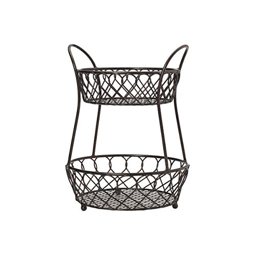 Gourmet Basics by Mikasa 5158748 Loop and Lattice wire basket Antique Black