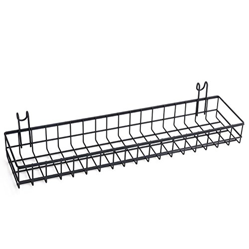 Kaforise Hanging Basket for Wire Wall Grid Panel Multi-function Wall Storage and Display Basket Medium Size Black Painted