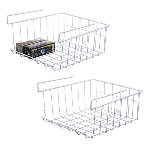 NoRi Stackable Hanging Basket 2-Pack Under Shelf Hanging Metal Wire Storage Basket for Kitchen Office Pantry Bathroom Cabinet