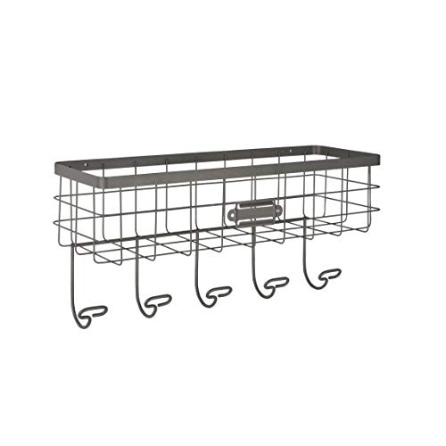 Spectrum Diversified Vintage Wire Basket Hook Station Wall Mount Storage Small Industrial Gray