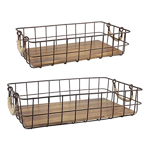 Stonebriar Stackable 2pc Rectangle Metal Wire and Wood Basket Set with Rope Wrapped Handles Rustic Decor for Home Storage Decorative Serving Baskets for Weddings Birthdays and Holiday Parties
