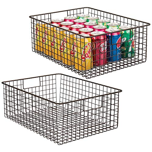 mDesign Farmhouse Decor Metal Wire Food Organizer Storage Bin Baskets with Handles for Kitchen Cabinets Pantry Bathroom Laundry Room Closets Garage - 2 Pack - Bronze