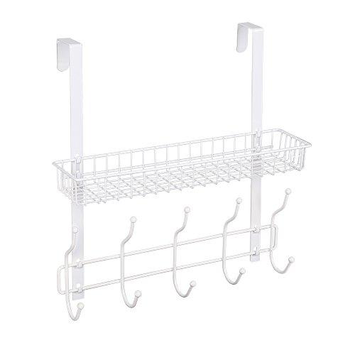 NEX Over The Door Coat Hook Organizer Bathroom Towel Hanging Rack White White