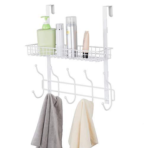 Upgrade Over The Door 5 Hook Shelf Organizer Hanger with Mesh Basket Storage Rack for Bathroom Kitchen Storage Shelves White