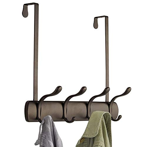 mDesign Decorative Over Door 8 Hook Metal Storage - Long Easy Reach Organizer Rack for Jackets Coats Hoodies Hats Scarves Purses Leashes Bath Towels Robes Men Womens Clothing - Bronze