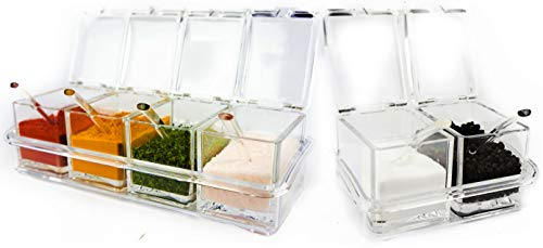 Six Compartment Condiment Spice Box Serving Set with Spoons - 2 4 Section Seasoning Storage Container Rack Combo Set with Removable Cruet Jars 575 oz capacity each  by ImpiriLux