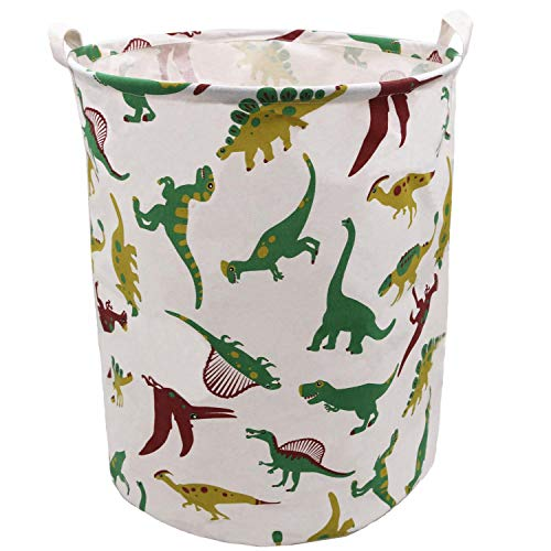 Extra Large Laundry Hamper 197x157 Inch ZUEXT Cotton Canvas Fabric Collapsible Organizer Basket Waterproof Clothes Laundry Hamper Toy Bins Dinosaur Gift Baskets for Bedroom Baby Nursery