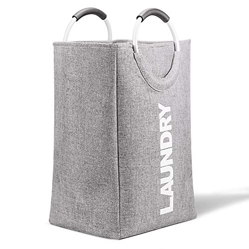 Foldable Laundry Hamper Large Capacity Gray Laundry Bag with Strong Aluminum Handle for Home Dorm Travel Grey