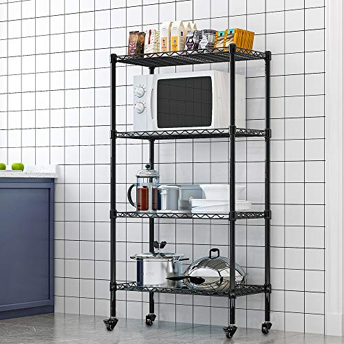 LENTIA Metal Wire Shelving Unit 5-Shelf Shelving Storage Unit Shelves Organizer Wire Rack on Wheels Kitchen Rack for Bathroom Office Kitchen Black