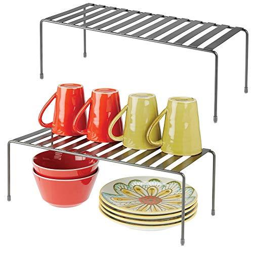 mDesign Modern Metal Storage Shelf Rack - 2 Tier Raised Food and Kitchen Organizer for Cabinets Pantry Shelves Countertops Dishes Plates Bowls Mugs Glasses 2 Pack - Graphite Gray