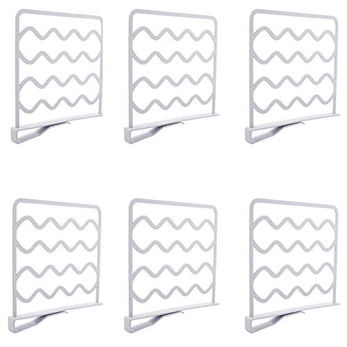 Pemalin Closet Shelf Divider and Separators for Wood Shelves Kitchen Cabinets and Libraries Closet Clothes Organizer Dividers - 6 Pack White