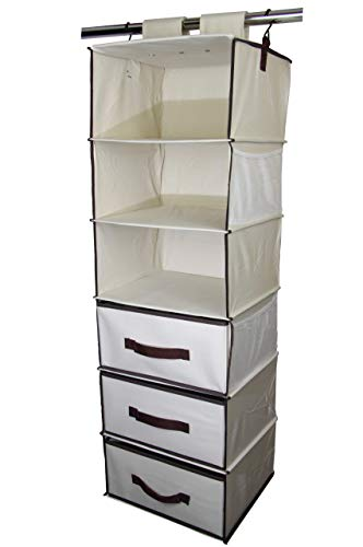 HD Home 6 Shelf Large Capacity Hanging Closet Storage and Organizer Caddy with Drawers for Clothes or BabyKids Room Heavy Duty Polyester Fabric 136 x 122 x 425 BeigeBrown