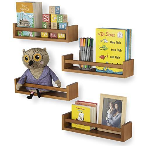 Wallniture Utah Nursery Book Shelf Floating Bookshelf for Kids Room Multiuse Kitchen Spice Rack and Bathroom Organizer Wood Walnut Set of 4