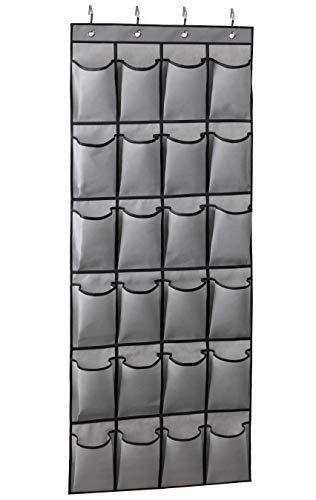 KIMBORA Over The Door Shoe Organizer 24 Large Fabric Pockets Hanging Shoe Rack Hanger Holder with 4 Otd Hooks Gray