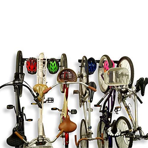 Koova Wall Mount Bike Storage Rack Garage Hanger for 6 Bicycles  Helmets  Fits All Bikes Even Large CruisersBig Tire Mountain Bikes  Heavy Duty Powder Coated Steel  Made in USA 6 Bike Rack