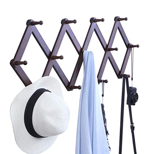 OROPY Wooden Expandable Coat Rack Hanger Wall Mounted Accordion Pine Wood Hook for Hanging Hats Caps Mugs Coats Walnut Color