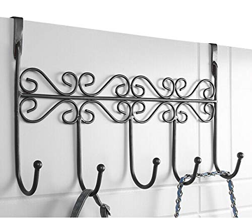 PerriRock 5 Hanger Rack - Decorative Metal Door Hooks Hanger Holder for Home Office Kitchen Use Coat Hook Rack Black