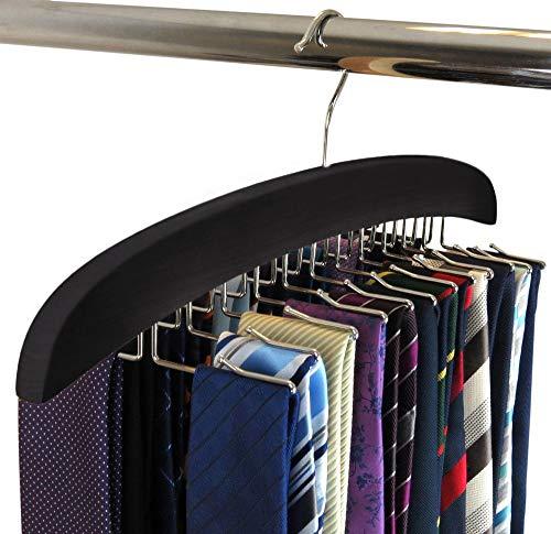 SUNTRADE Wooden Tie Hanger24 Tie Organizer Rack Hanger Holder Hook Black 24 Hooks