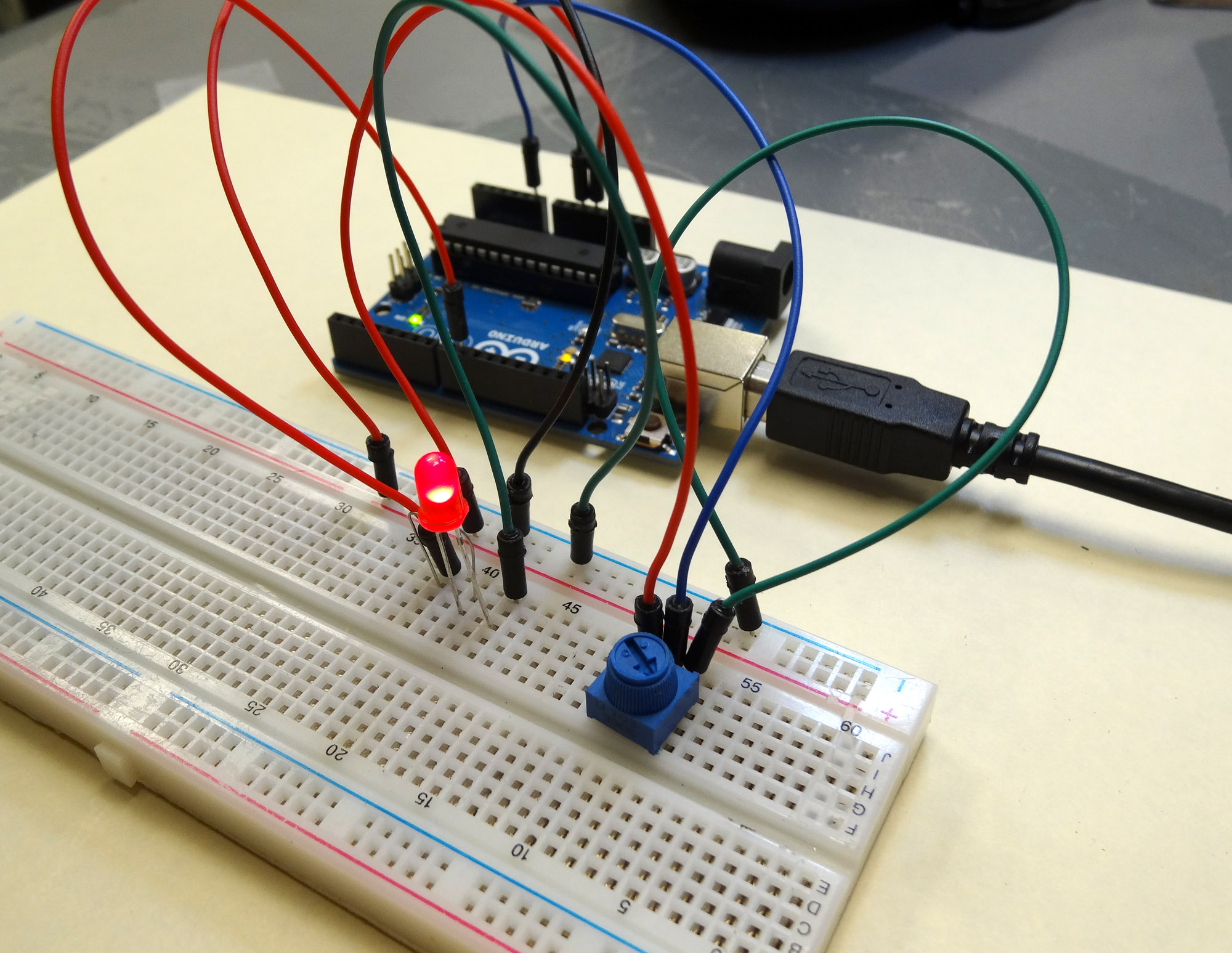 Arduino circuit for dimming an led