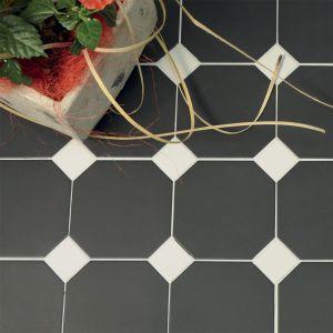 Octogonale tegels in zwart wit patroon