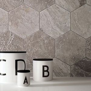 keramische marmer tegels in zeshoek voor de wand