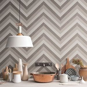 Een spatwand met chevron tegels in multi color.