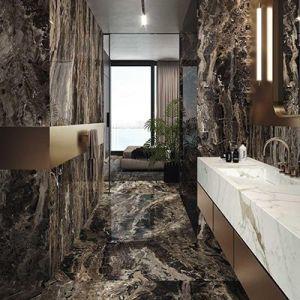 Een naadloze badkamer in frappuccino marmer imitatie.